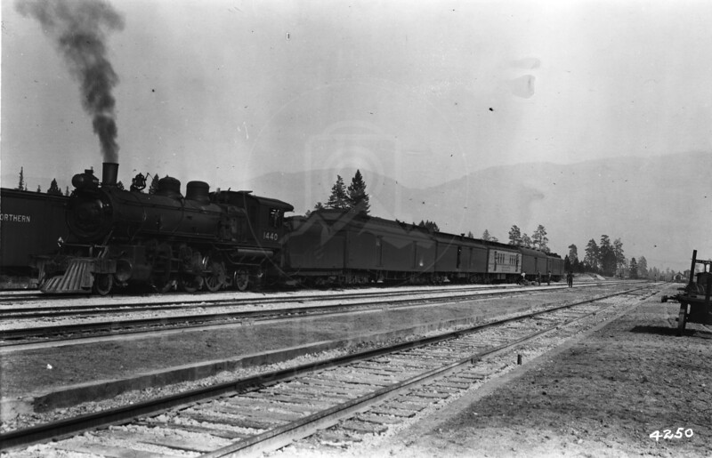 Ferde Greene Photo<br /> 10/12/1917 1st stop at the new Train depot in Columbia Falls, Montana<br /> 4250