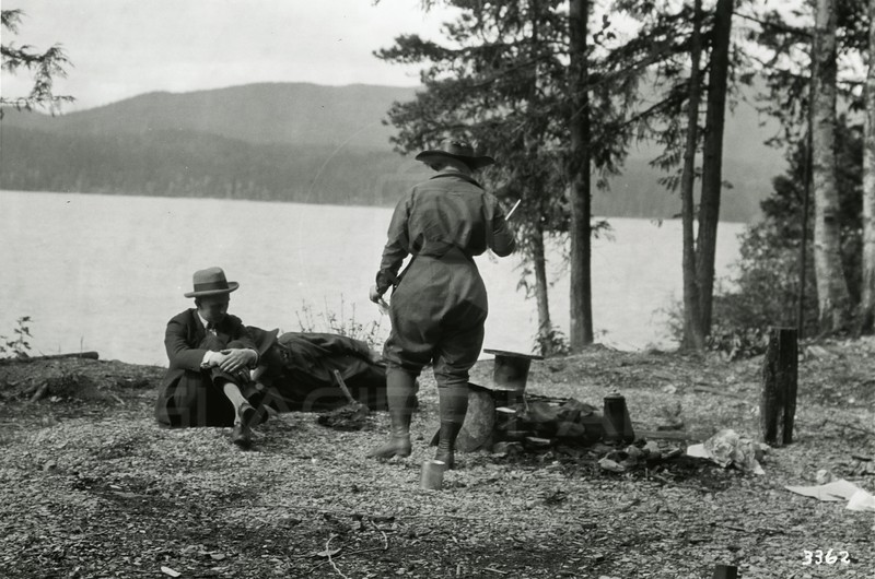 Ferde Green Photo<br /> 9/9/1922 11AM, Lunch at Lake McDonald, John Ogg & Betty Greene<br /> f11 1/25<br /> 3362