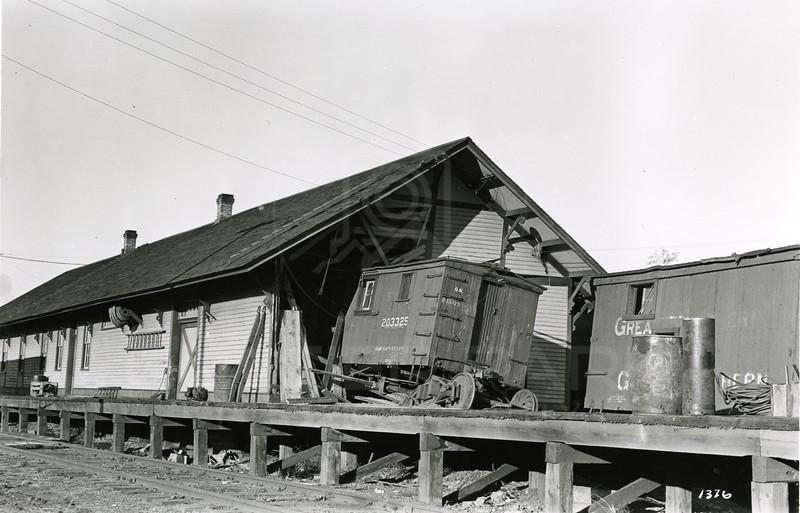 Ferde Greene Photo<br /> 10/25/1923 9:30 AM, Train crashes into depot , Columbia Falls, Montana<br /> f11 1/25<br /> 1376