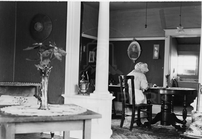 Ferde Greene Photo<br /> 4/20/1916 Elizabeth Gregory Greene in her first home, Zorsie House was still standing in Columbia Falls in 2007<br /> 6225