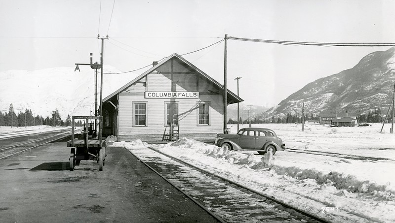Ferde Greene Photo, 2/19/1939, Columbia Falls Depot, Montana, Ferde Greene's Plymouth 1936