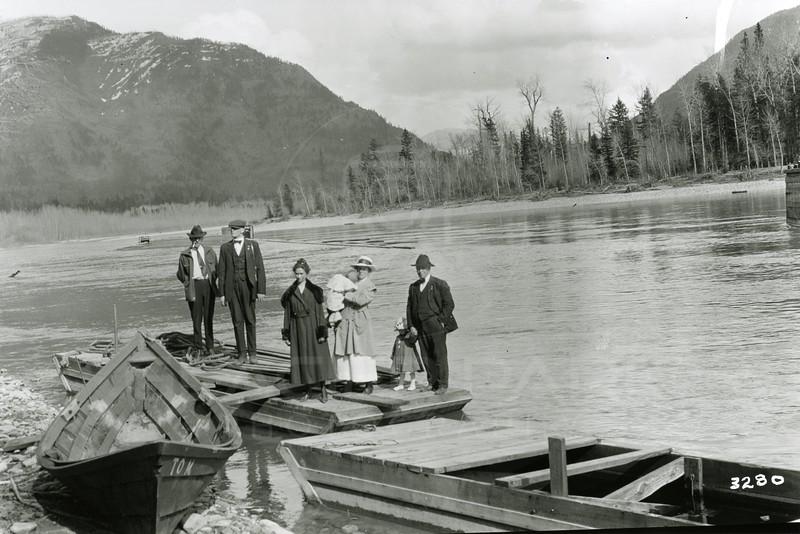 Ferde Greene Photo<br /> 4/7/1919 3PM, At boat landing, John & Grace Ogg, Ferde & Elizabeth Greene & Shorty Orvis with Ruby, Columbia Falls, Montana<br /> 3280