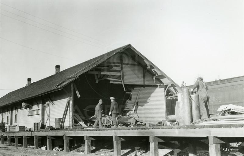 Ferde Greene Photo<br /> 10/25/1923 9:30 AM, Train crashes into depot, Columbia Falls, Montana<br /> f11 1/25<br /> 1377