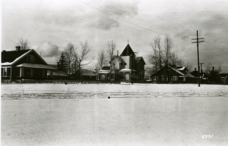 Ferde Greene Photo<br /> 2/20/1920, Tway House church now stands where the Tway house is, Columbia Falls, Montana<br /> 5331