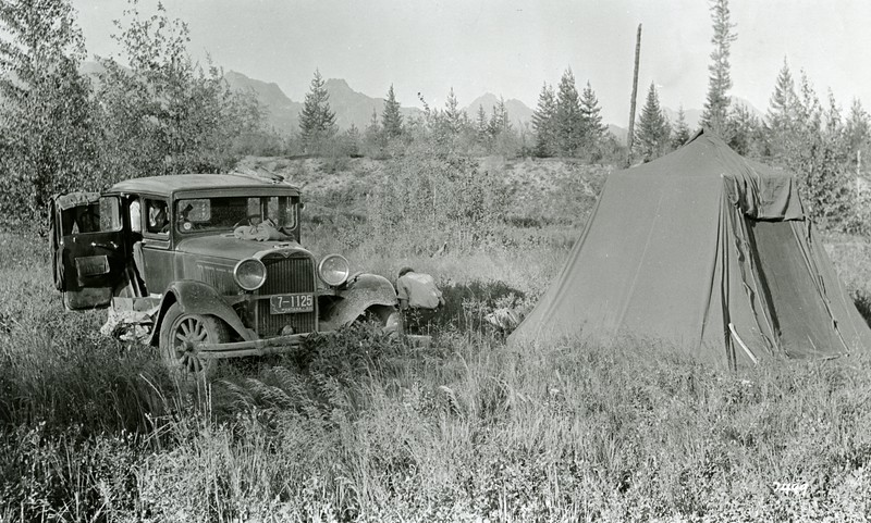 Ferde Greene Photo<br /> 7/26/1935 Camping at Trail Creek, Howard Greene cooking<br /> 7499