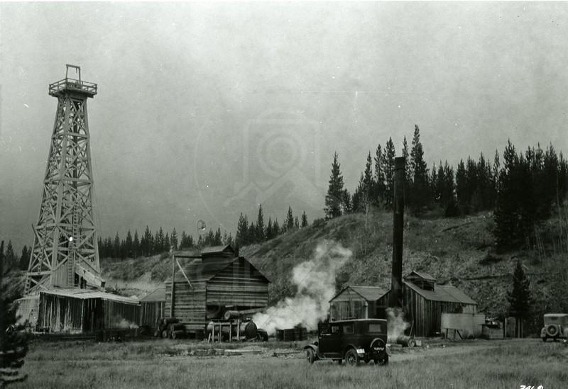 Ferde Greene Photo<br /> 9/21/1929 2PM North Fork BC Oil, 15 miles south border near Kintla Creek, Kintla Lake Oil Co.<br /> f11 1/25<br /> 3469