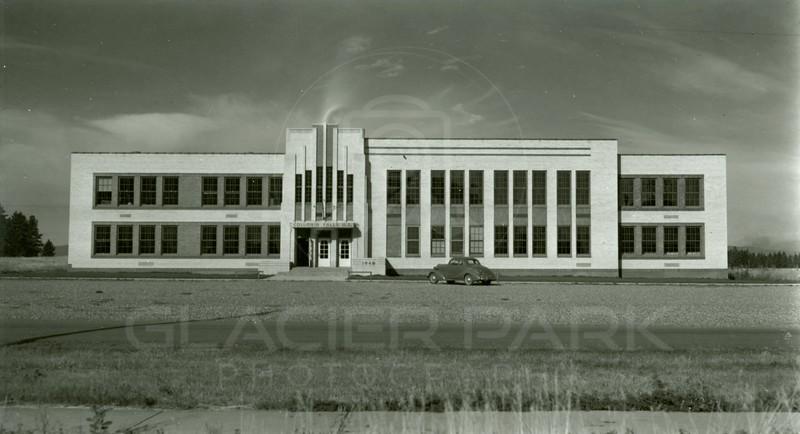 Ferde Greene Photo, 9/12/1942, New High School in Columbia Falls, Montana
