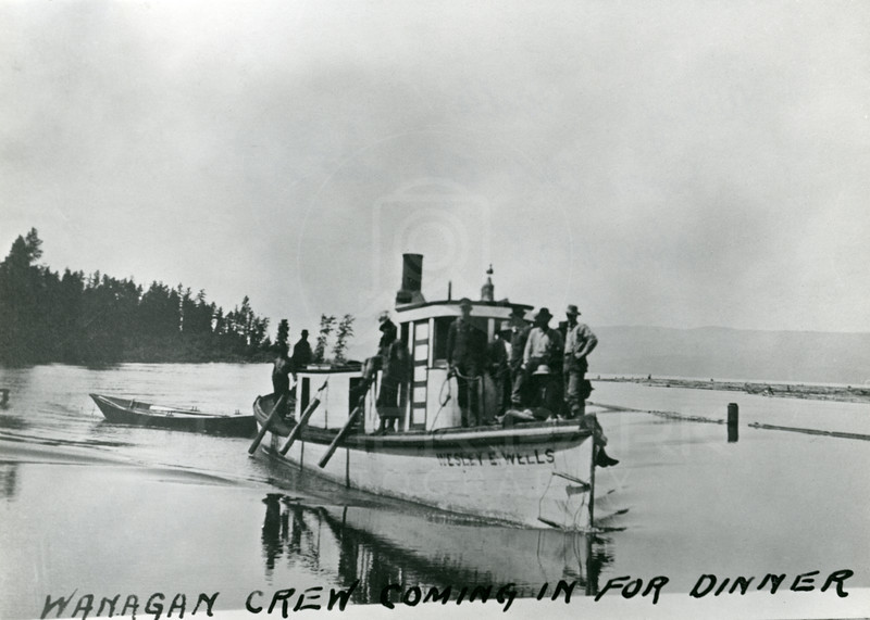 Wesley E Wells, Somers Lumber Tug Boat, About or before 1925<br /> Train White Photo