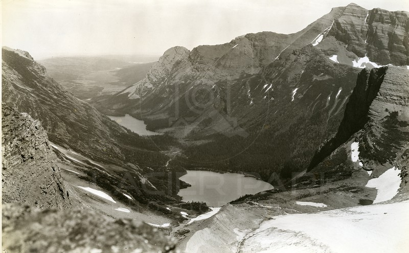 Five Lake from Garden Wall Notch, Glacier National Park<br /> Photo by Hileman<br /> 4004
