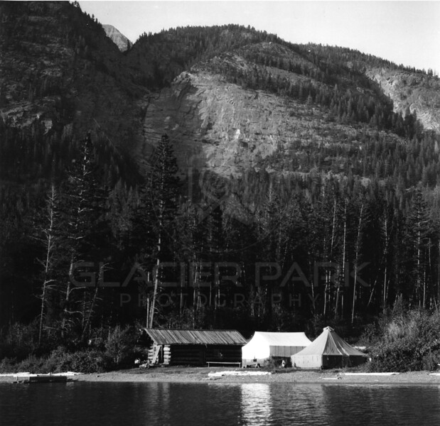 Early day homestead upper end of Lake McDonald<br /> R E Marble Photo<br /> MA-0134