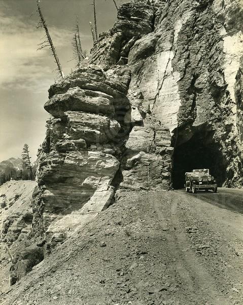 Tunnel Exit & Car, Glacier National Park<br /> Photo by Hileman<br /> 8172