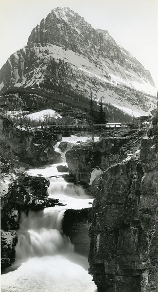 Grinnell Mountain & Swift Current Falls<br /> Photo by Hileman<br /> 4012