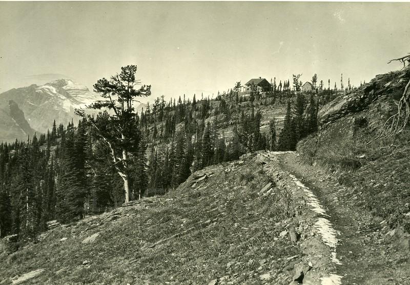 Longfellow Peak, Granite Chalet, Glacier National Park<br /> Photo by Hileman<br /> 8049