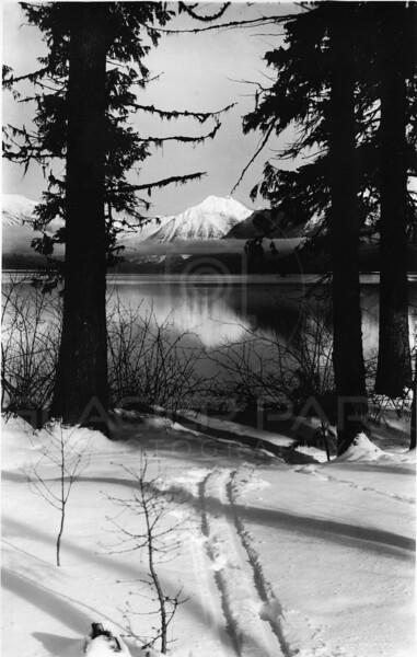 Lake McDonald in Winter 1920's<br /> R E Marble Photo<br /> MA-053