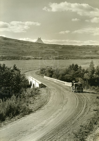 Highway at St Mary Bridge & Cheif Mountain, Glacier National Park, East Glacier<br /> Photo by Hileman<br /> 3144
