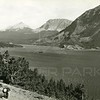 View from auto, Road showing how narrow at St Mary Lake<br /> Photo by Hileman<br /> 3084