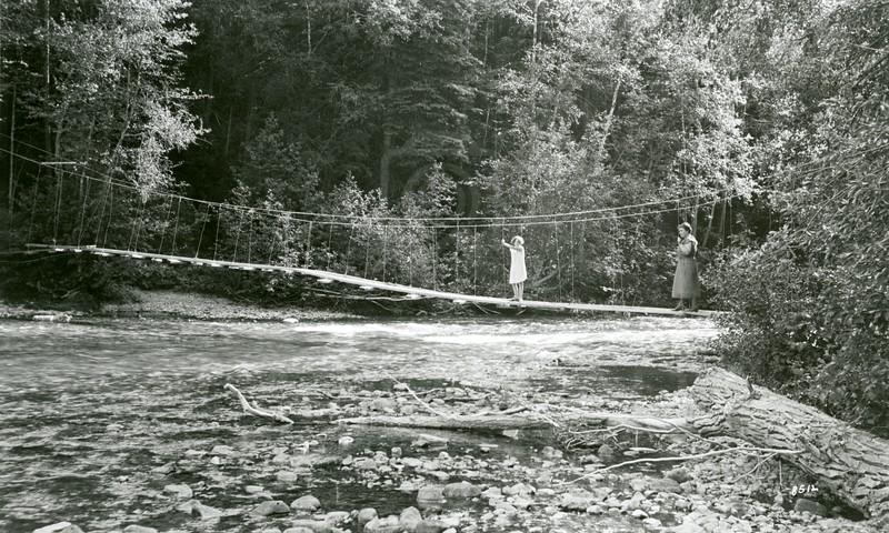 Ferde Greene Photo, 7/30/1936, Ruth Ann and Elizabeth on Old Kintla Bridge