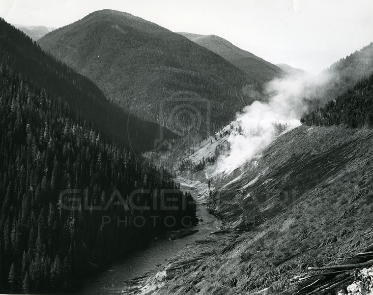 Burning Timber for Hungry Horse Dam