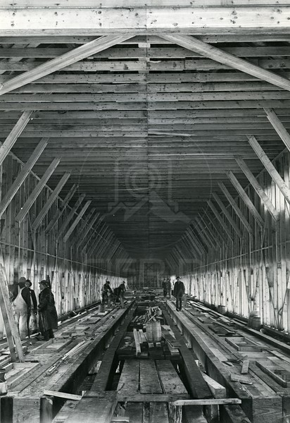 Building the inside of the Hungry Horse Dam