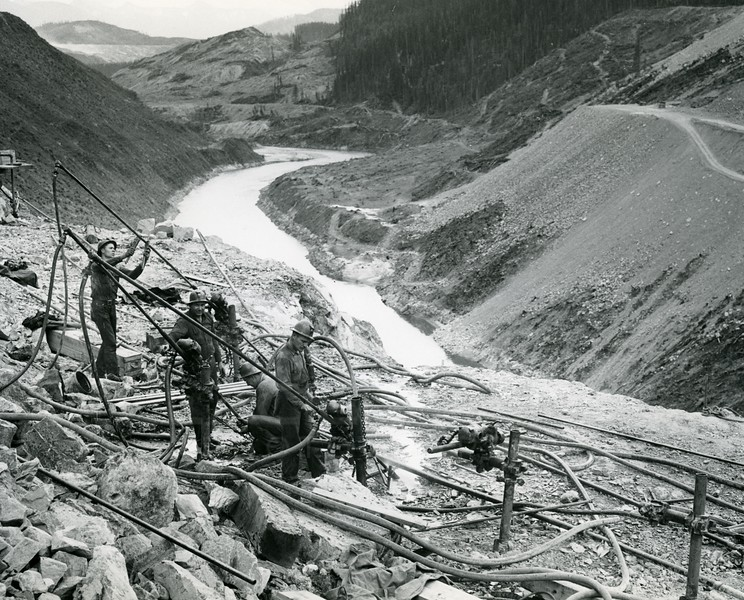 Workers on Hungry Horse Dam Site