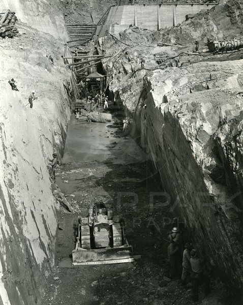Elevated view of the bottom of Hungry Horse Dam Build
