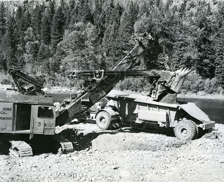 Machinery working a Hungry Horse Dam site