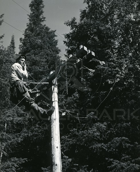 Lineman working at Hungry Horse Reservoir