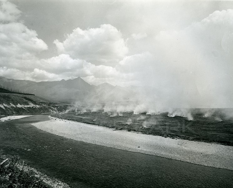 Burning Timber for Hungry Horse Dam Project