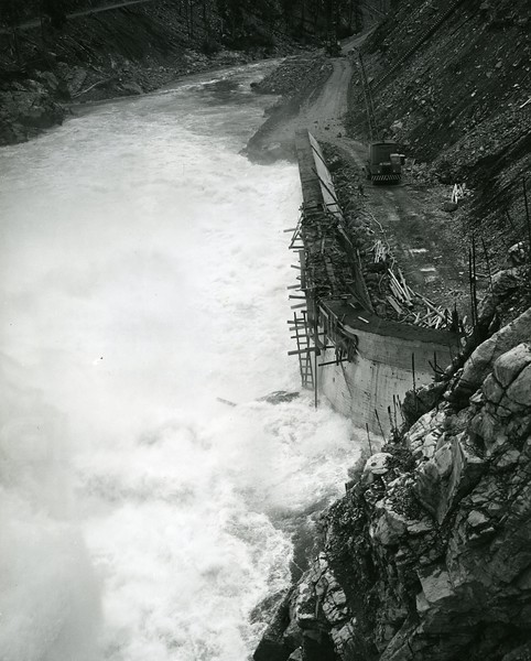 View of spillways discharge