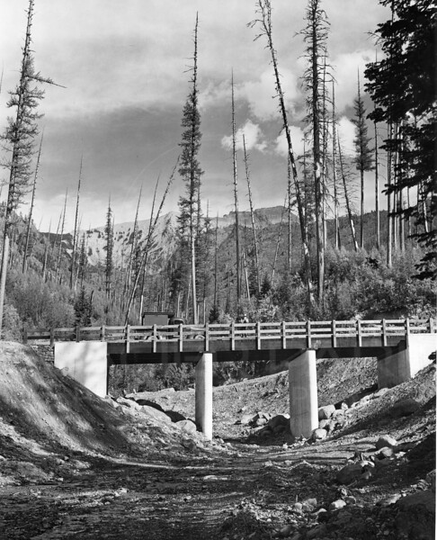 Bridge over the dry South Fork River