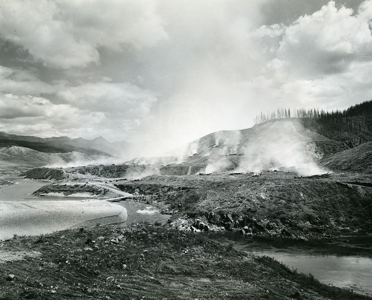 Burning Timber for the Hungry Horse Dam Project