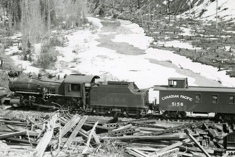 Ferde Greene Photo<br /> 4/2/1914<br /> Work Train Michel, BC<br /> 1/25 f11<br /> 29