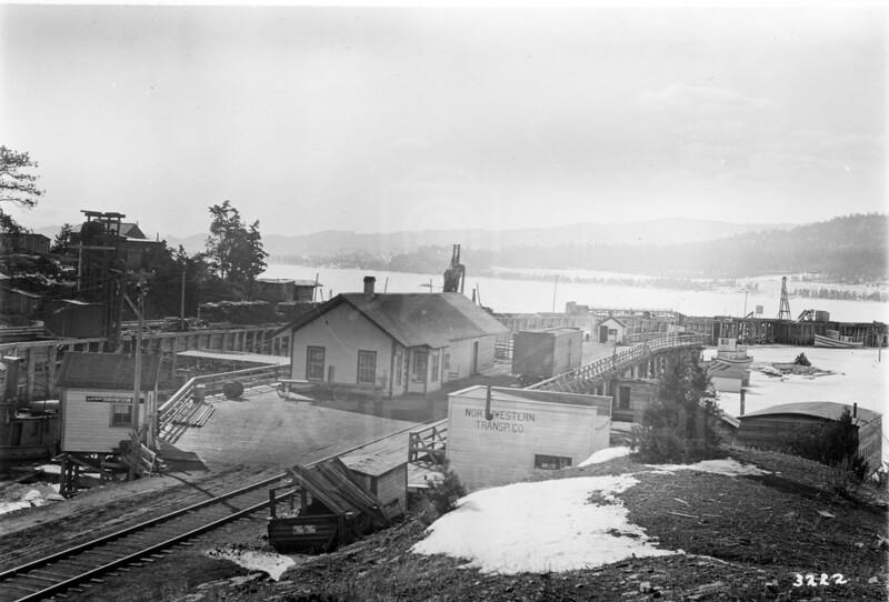 Ferde Greene Photo<br /> 3/27/1915 Somers, Montana Dock & Depot<br /> 1/25 f11<br /> 3222