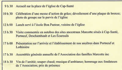 Agenda for the events of 19 August 2017 at the 350th Anniversary of the Marcotte Families in North America.