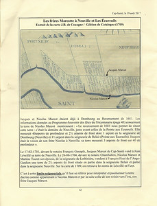 This page from Yves' research shows the location of the adjacent farms in Neuvile, during the years that both brothers, Jacques and Nicolas Marcotte were living there.