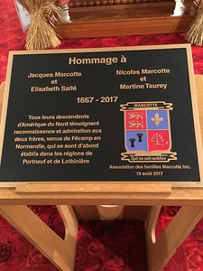 This plaque was unveiled at the end of the Mass, and was blessed by Father Jacques Marcotte, who was the celebrant who did the mass, and who chatted with our group briefly before the service.