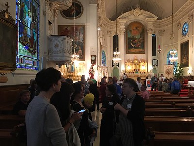 Inside the church, during the meet and greet.