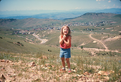 Theresa With Cripple Creek, Colorado In Background,  Colorado Vacation.  August, 1965