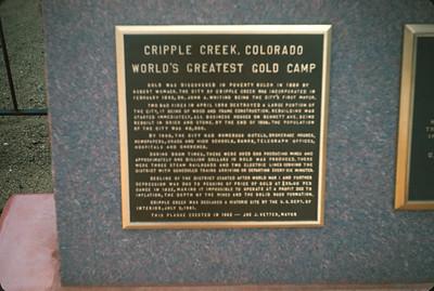 Cripple Creek, CO. Colorado Vacation.  August, 1965