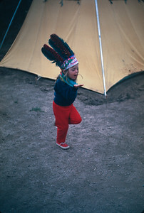 Our Camp At Black Canyon.  Theresa Doing The War Dance As Chief Annbell,  Colorado Vacation.  August, 1965