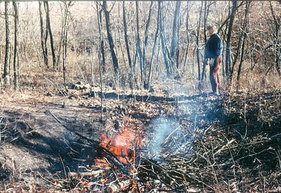 Dorothy Sell Burning Branches At Farm, Harveyville, KS, November, 1973