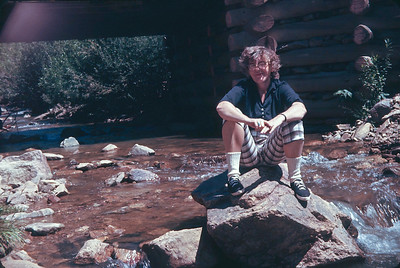 Dorothy On A Rock In Middle of Clear Creek.  South of Black Hawk, CO. August 16, 1963
