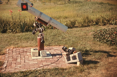 """6"""" Reflector With Camera For Solar Work.  Just after eclipse. Platte City, July 20, 1963"""
