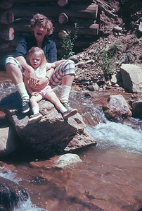 Theresa and Dorothy In Clear Creek.  Near Black Hawk, CO. August 16, 1963