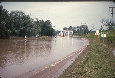Platte River Bridge Flood. Platte City, MO.  July, 1965