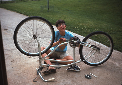 Wayne Fixing His Bike, Platte City, MO,  June 1967