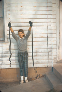 Chris Holding Two Snakes at the Farm.  November 1960.