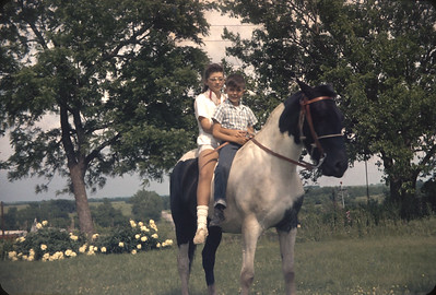 Chris And Wayne On A Horse, Near Harveyville, KS.  June 2, 1961