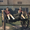 Chris and Unknown Sit On A Canon.  Fort Leavenworth Museum, Leavenworth, KS.  June 17, 1961