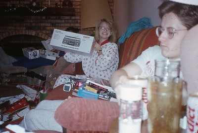 Vicki and Doug on Christmas ... note the Diet Coke in the corner